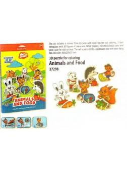 Omalovánky 3D puzzle - zvířátka s jídlem