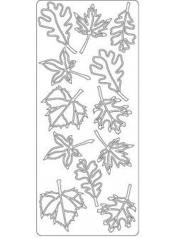 Nálepky 3D Stříbrná - Listí