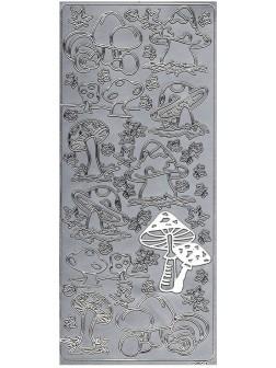 Nálepky 3D Stříbrná - Houby