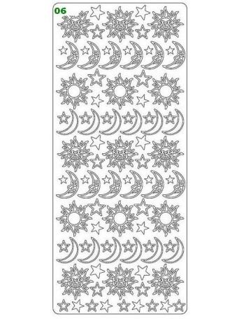 Peel Off´s Original - Nálepka 3D Stříbrná - Slunce & Měsíc