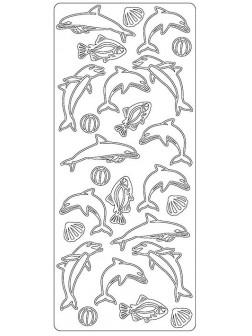 Nálepky 3D Stříbrná - Delfíni