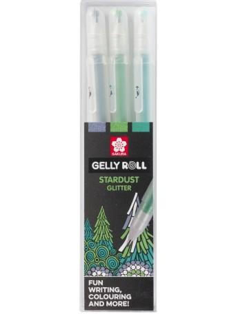 Gelové pero Sakura® Stardust™ Třpytivé - Tématická sada Les 3 ks.