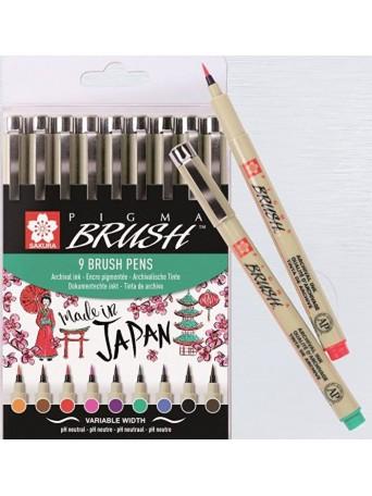 Sakura® Štětcové pero Pigma Brush® - sada 9 ks.
